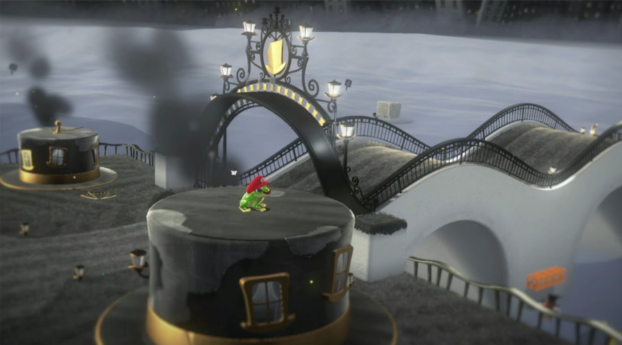 カエルをキャプチャーし、船の上に乗るマリオ
